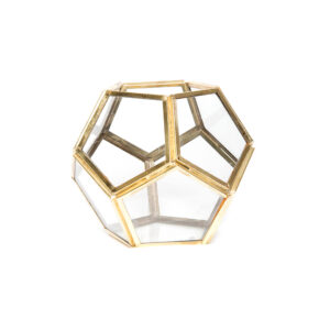 Geometric Gold Glass Hexagon