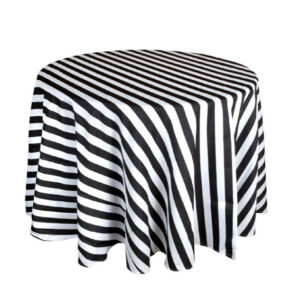 BLACK & WHITE STRIPE TABLE CLOTH