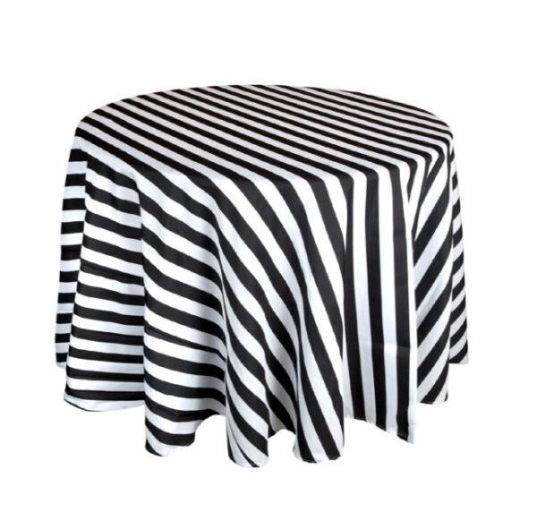 BLACK & WHITE STRIPE TABLE CLOTH