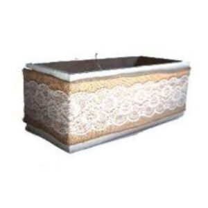 WOODEN BOXES HESSIAN LACE